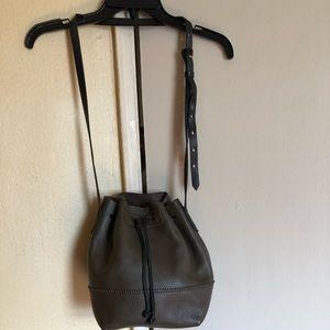 J crew drawstring leather bag